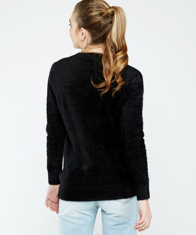 fuzzy sweater, Black