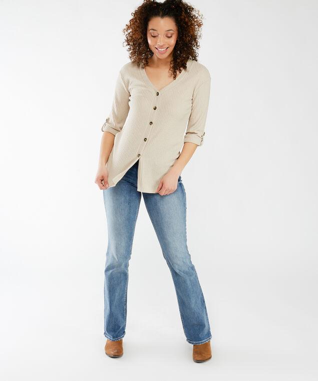 3/4 sleeve button front, Linen
