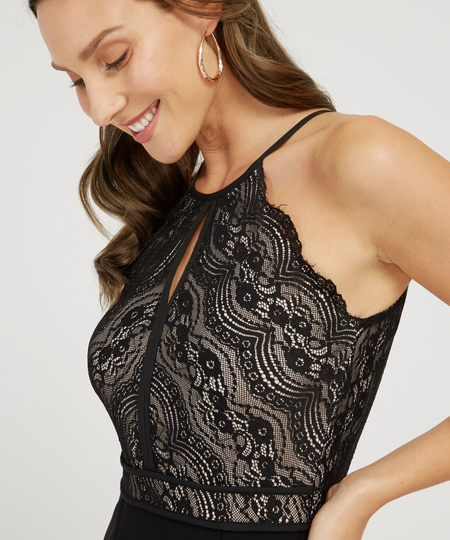 lace bodice jumpsuit - wb, BLACK, hi-res