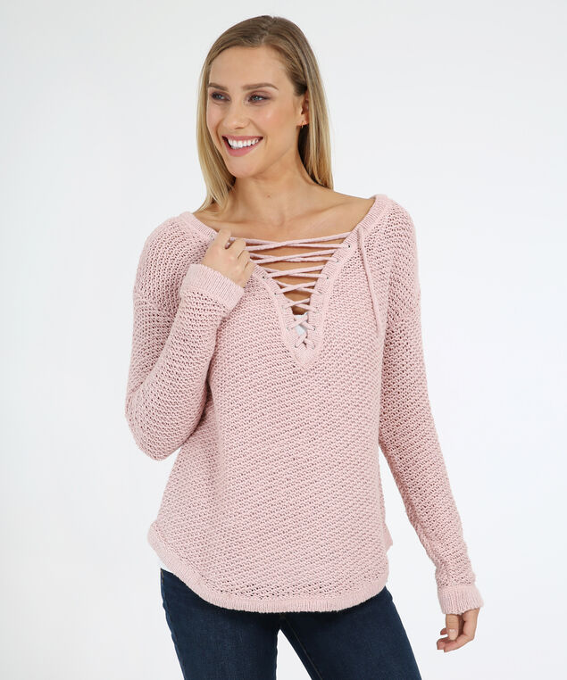 front lace up sweater - wb, MISTY ROSE, hi-res