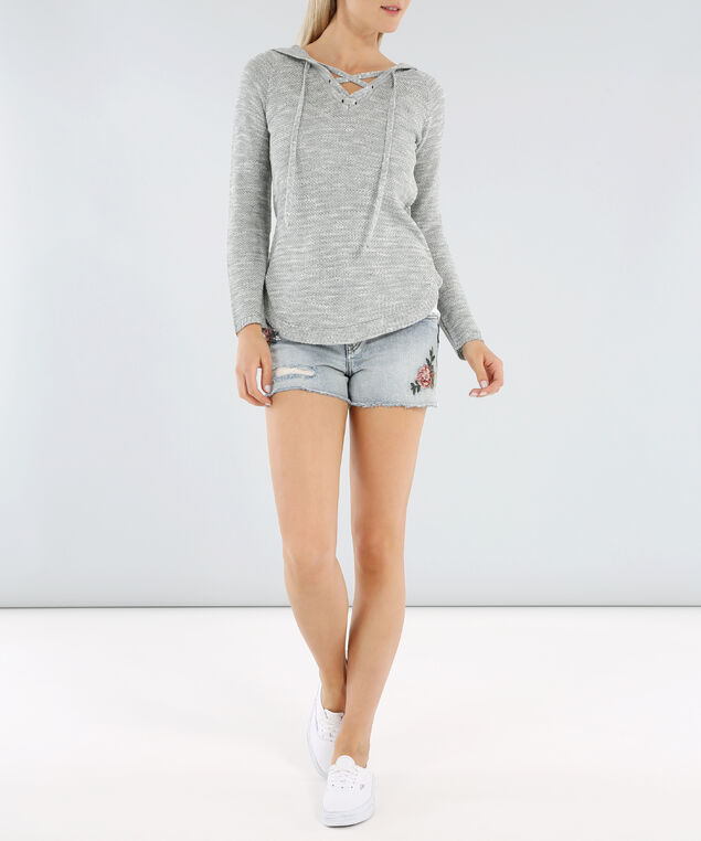 hooded laceup front sweater - wb, LIGHT GREY TWIST, hi-res