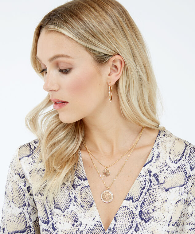 circle filigree necklace, Gold, hi-res