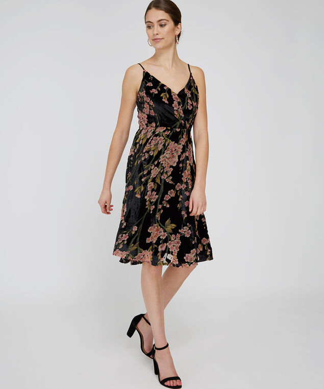 velvet burnout dress - wb, BLACK FLORAL, hi-res