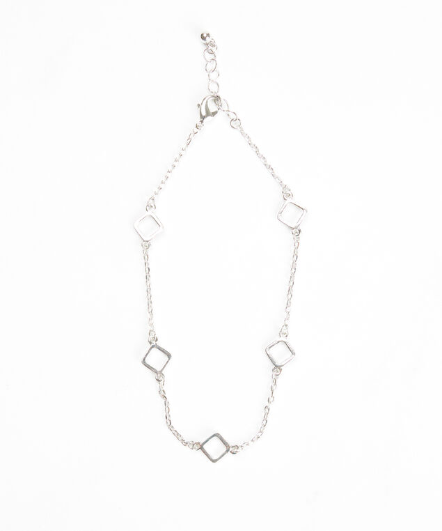 square chain anklet, Silver