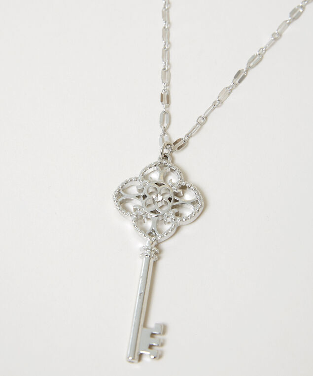 key pendant necklace, SILVER, hi-res