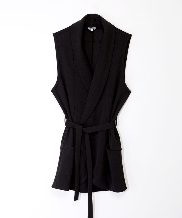 thalia sleeveless open vest, Black, hi-res