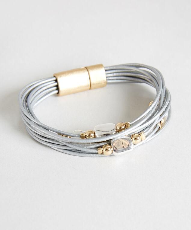 grey pleather bracelet, GREY, hi-res