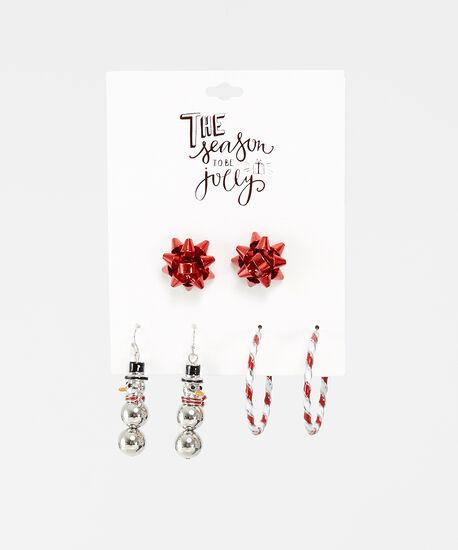3 pack of holiday earrings, MULTI, hi-res