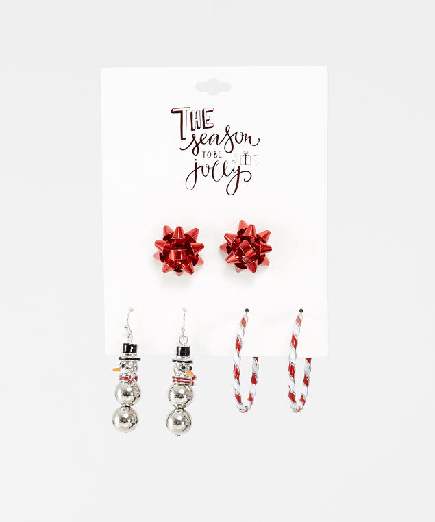 3 pack of holiday earrings, MULTI, hi-res