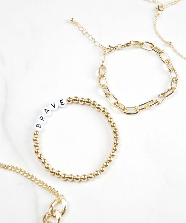 multi row brave bracelet, White