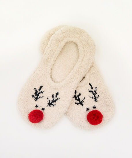 holiday slipper socks, REINDEER, hi-res