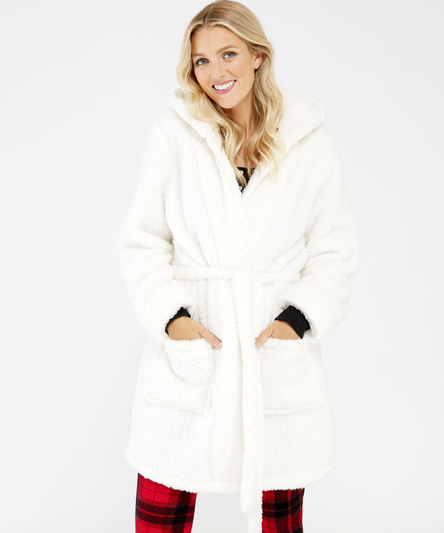 noel sherpa robe, Ivory, hi-res
