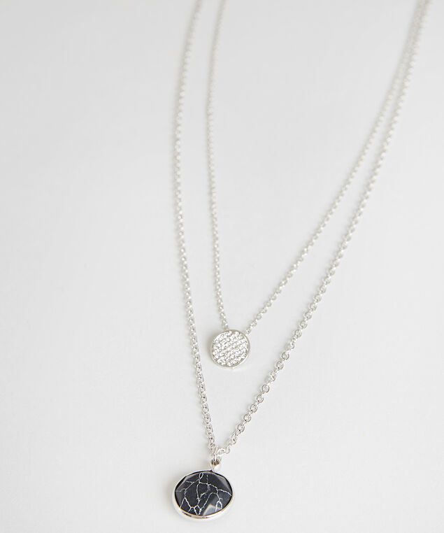multi-layered marbled pendant necklace, SILVER, hi-res