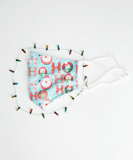holiday facemask with light chain, holiday print, hi-res