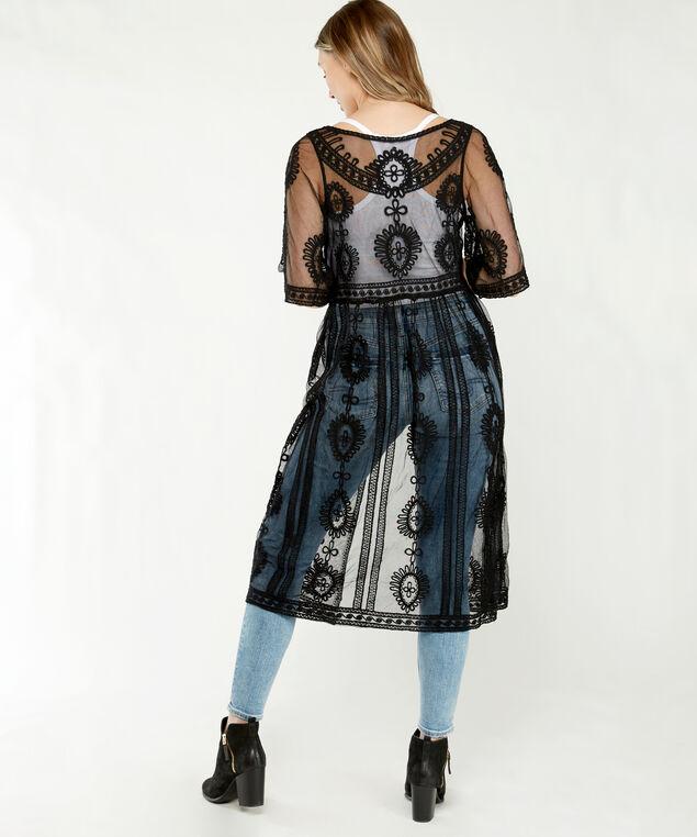 mesh kimono, Black