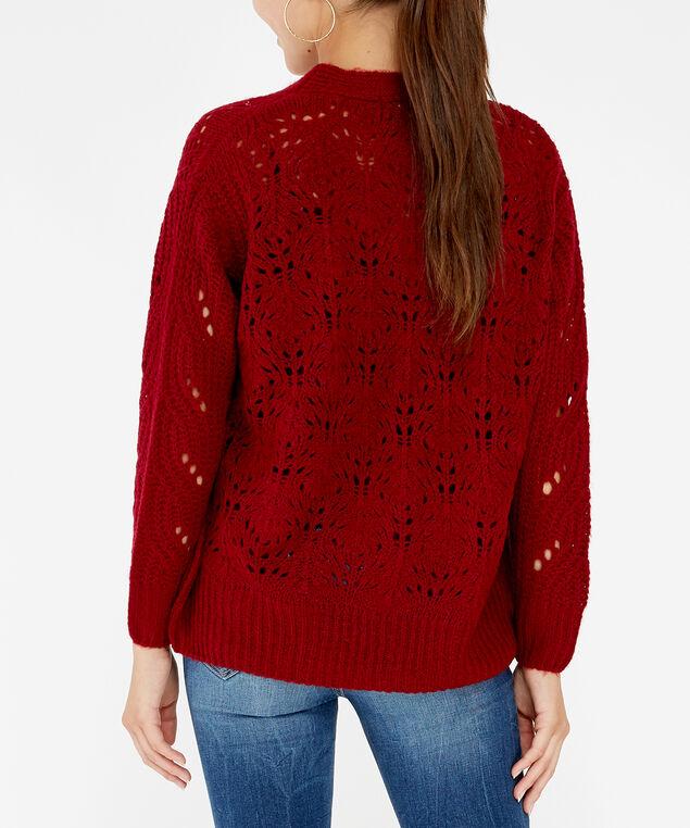 pointelle stitch cardigan - wb, Red, hi-res