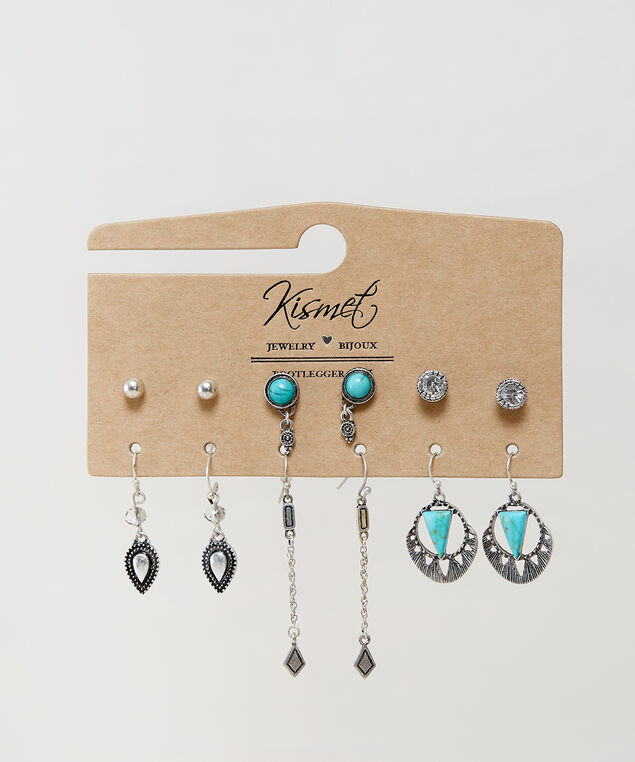 6 pack of earrings, SILVER, hi-res