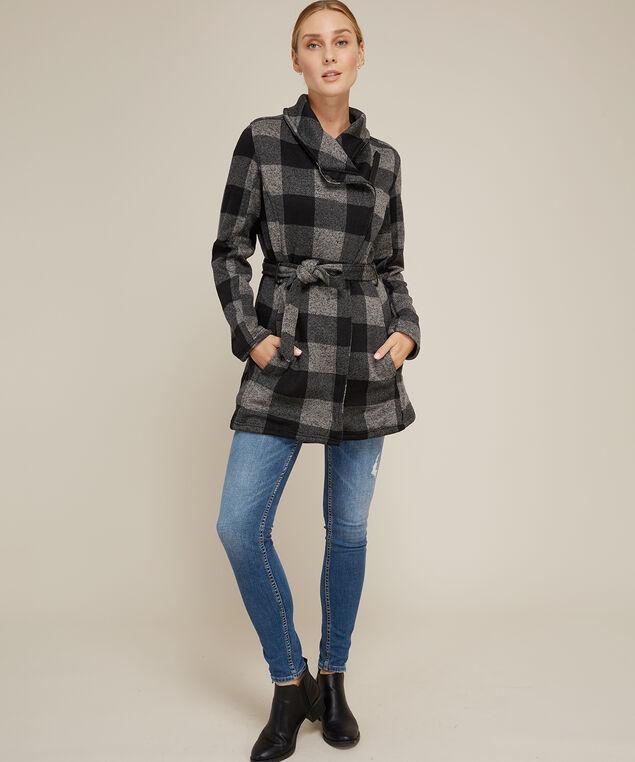 buffalo check knit jacket, BLACK GREY, hi-res