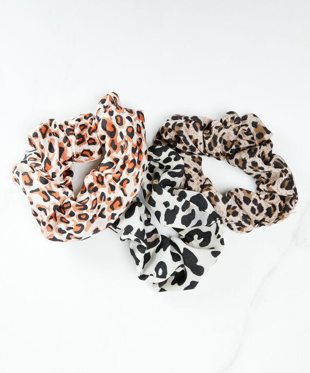 3 pack leopard print scrunchies, Black/Brown