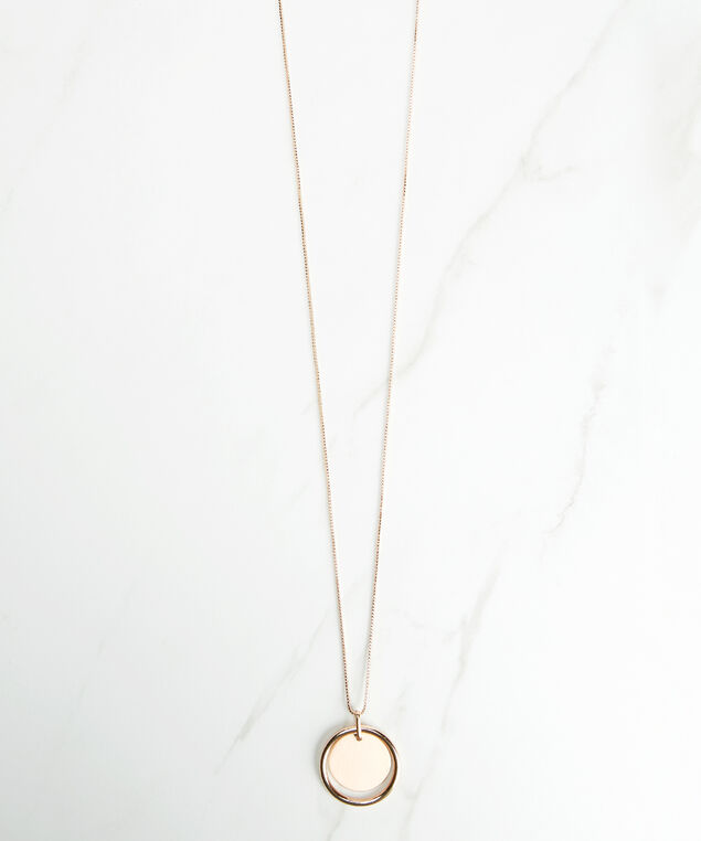 circle pendant necklace, Rose Gold