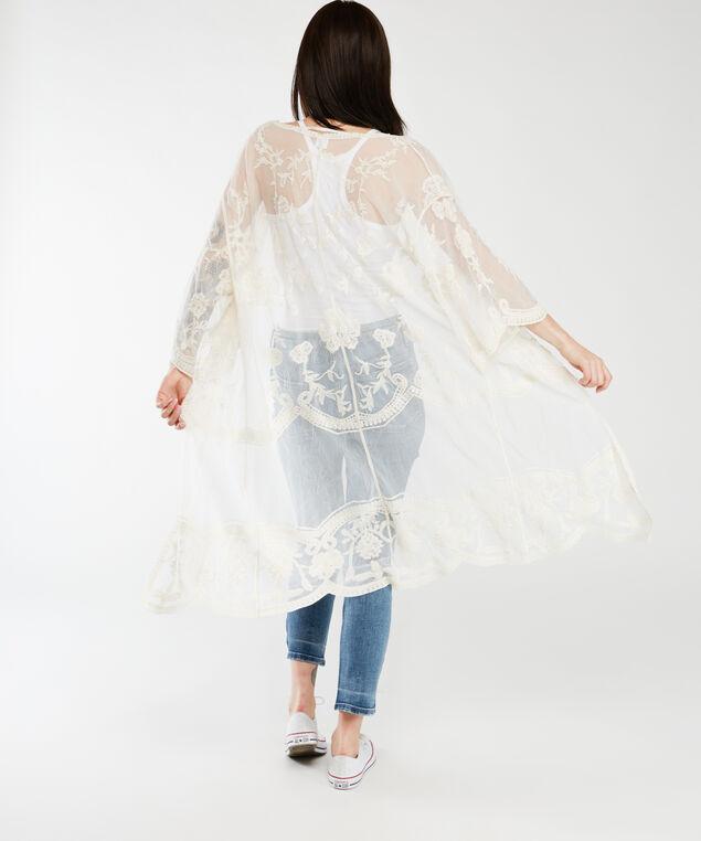 long sleeve embroidered kimono, Ivory