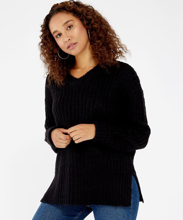 chunky knit sweater - wb, Black, hi-res