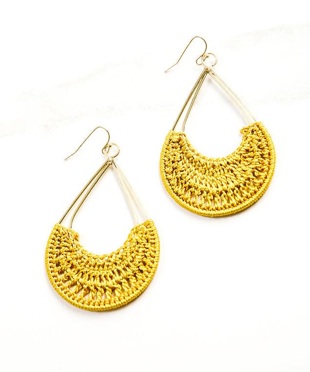 crochet dangle earrings, Mustard, hi-res