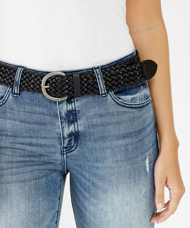 braided stud belt, BLACK, hi-res