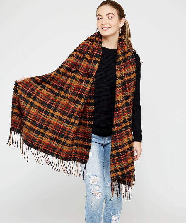 plaid scarf with tassels, Brown, hi-res