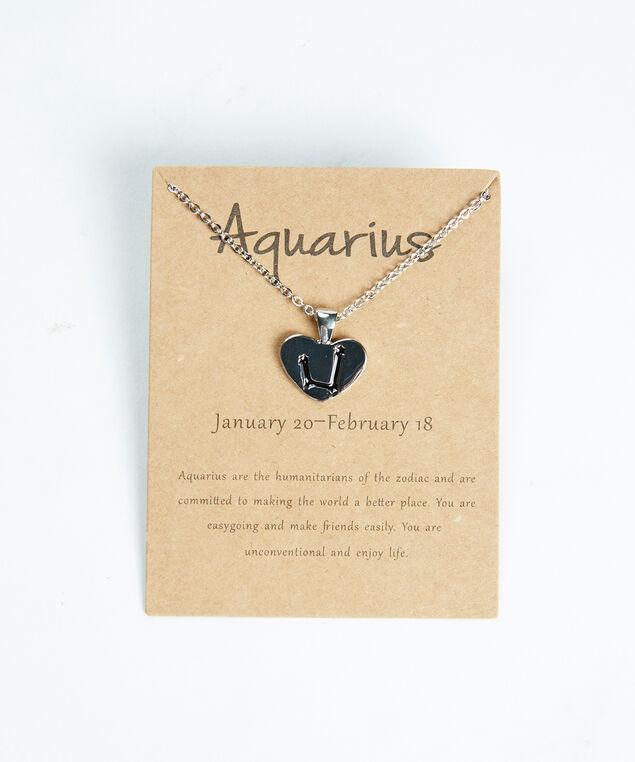 aquarius zodiac necklace, Silver