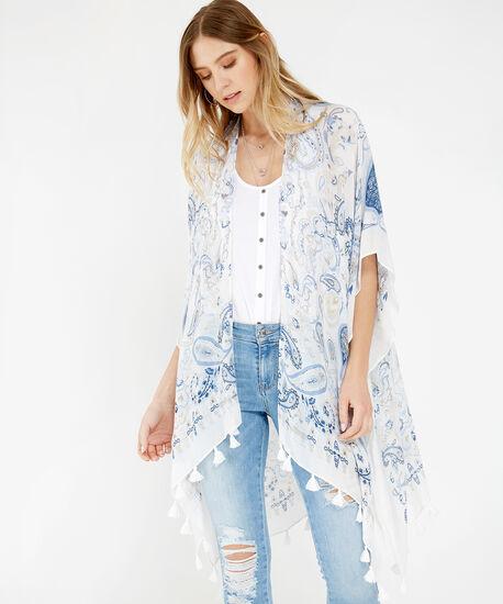paisley print kimono, WHITE, hi-res