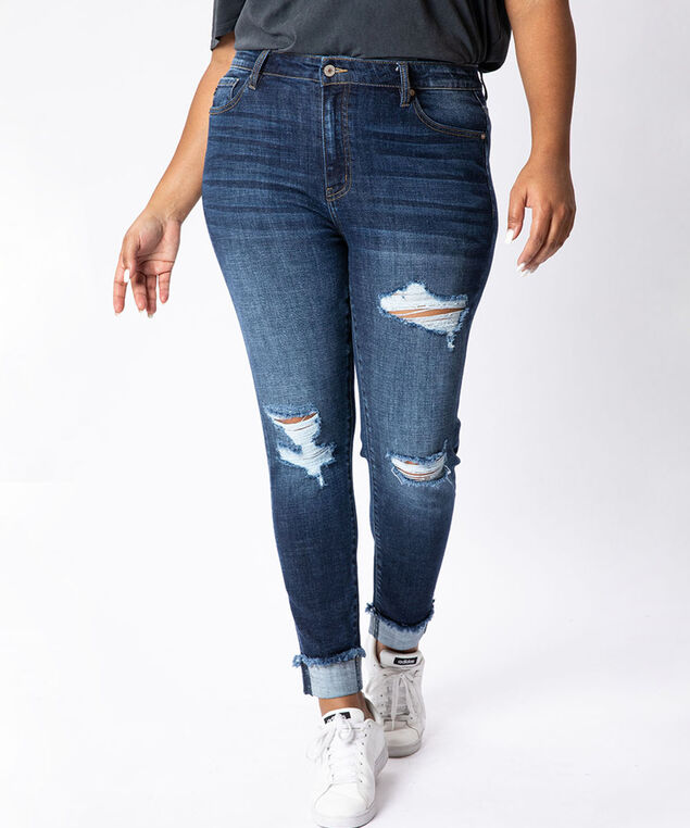 high rise skinny ankle plus size - wb,