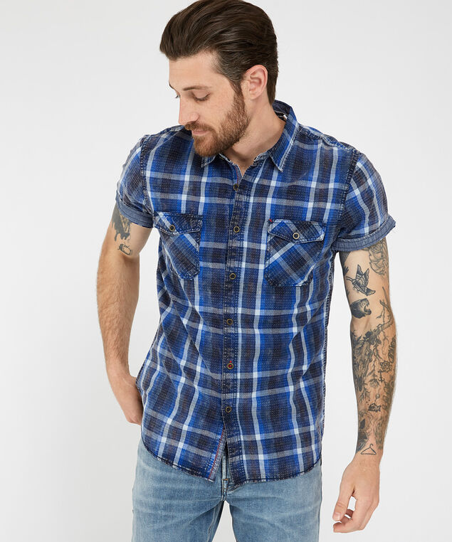 short sleeve plaid shirt, BLUE, hi-res