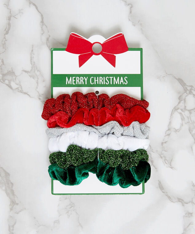 6 pack christmas scrunchies, ASSORTED, hi-res