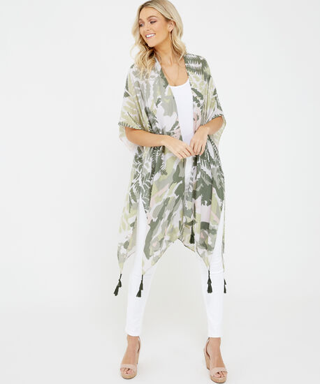 leaves and camo print kimono, Green Pattern, hi-res