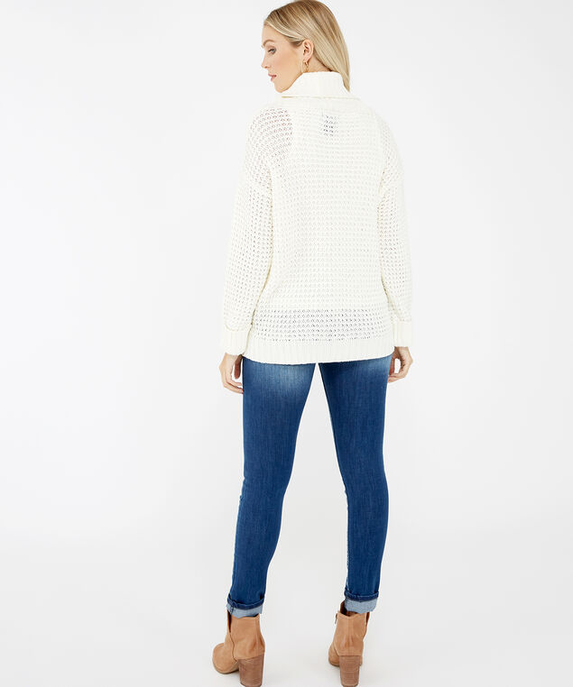 cable stitch turtleneck - wb, Cream, hi-res