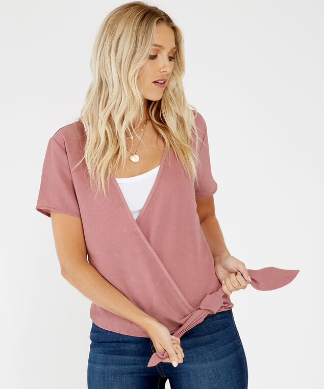wrap front blouse - wb, Rose, hi-res