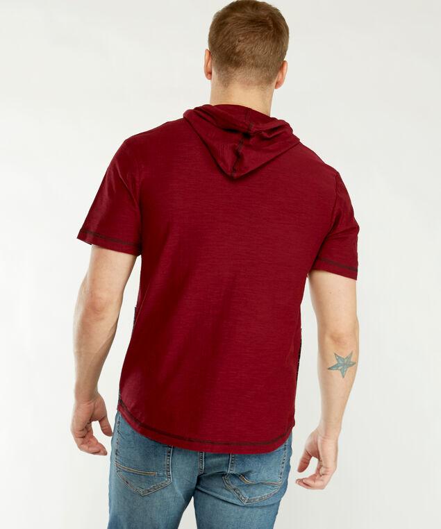 ss colour block hoody, Burgundy Combination
