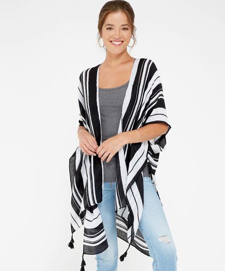 black & white striped kimono, BLACK STRP, hi-res