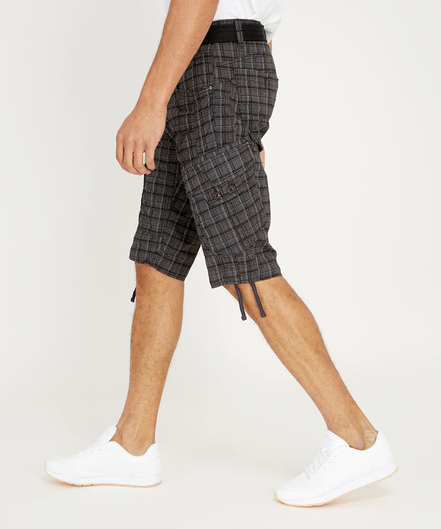belted twill plaid cargo short - wb, CHARCOAL, hi-res