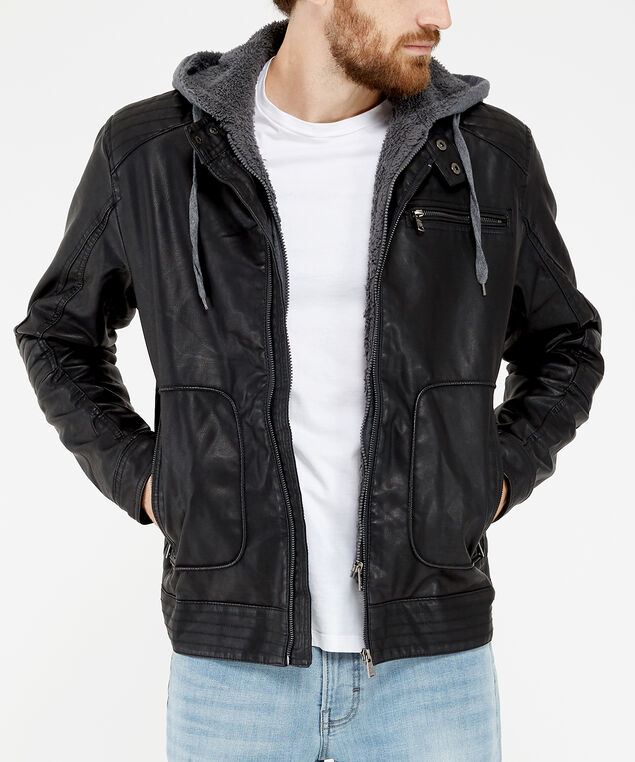 motorcycle jacket, Black, hi-res