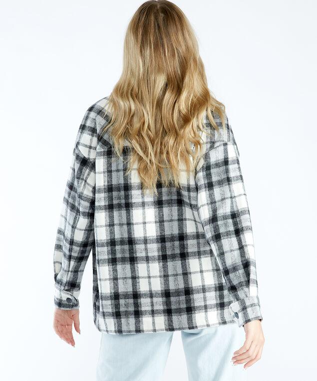 plaid shirt jacket, Black White Plaid