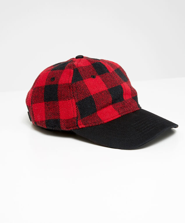 buffalo check ball cap, Red Print, hi-res