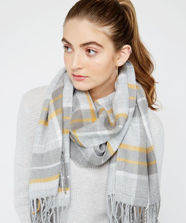 plaid scarf with tassels, Lt Grey, hi-res