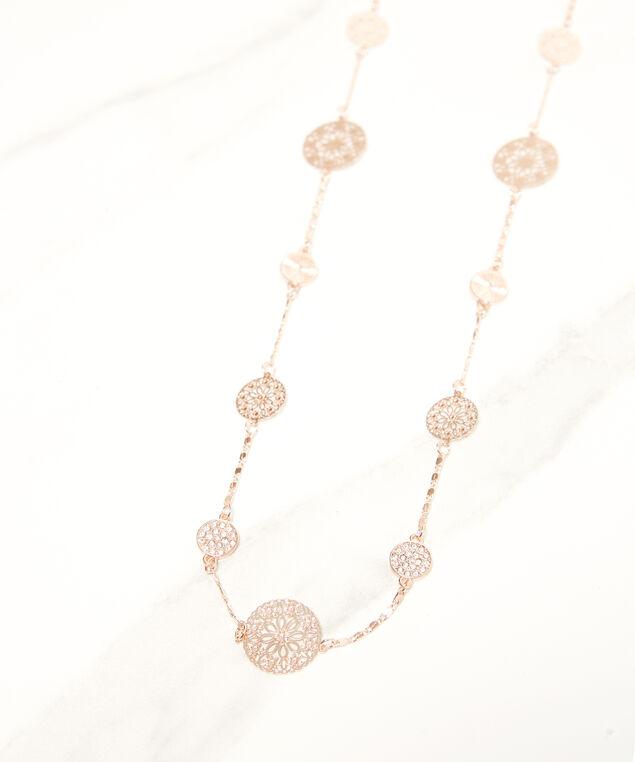 filigree circle necklace, Rose, hi-res