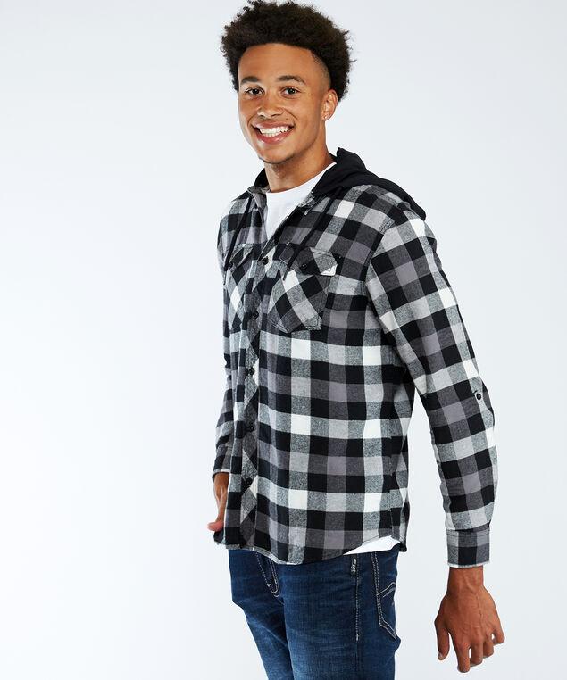 hooded flannel plaid shirt, Black Pattern