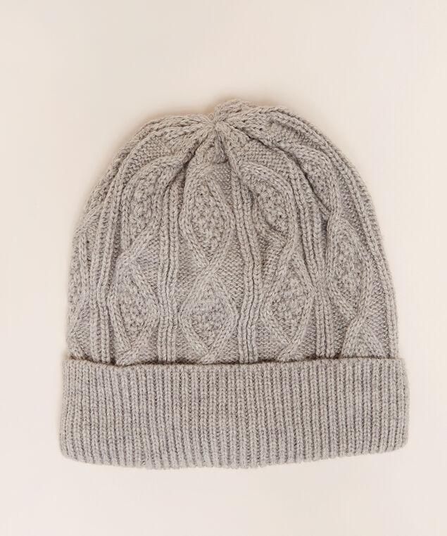 men's cable knit hat, GREY, hi-res