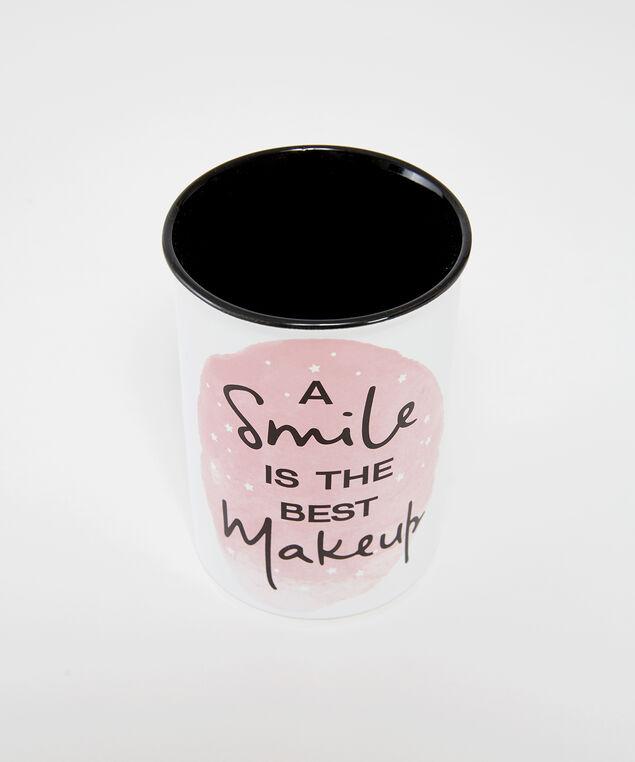 smile makeup brush holder, WHITE, hi-res