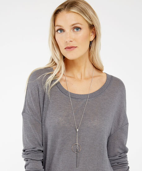 lariat bar necklace, SILVER, hi-res