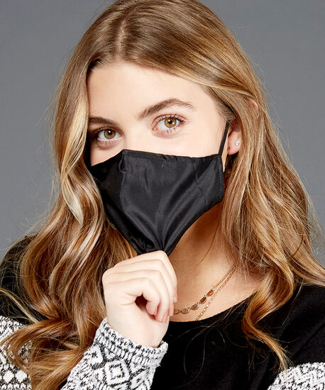 solid black face mask, Black, hi-res